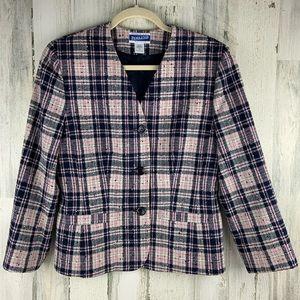 PENDLETON Vintage Pink/Navy Plaid Blazer Size 8P